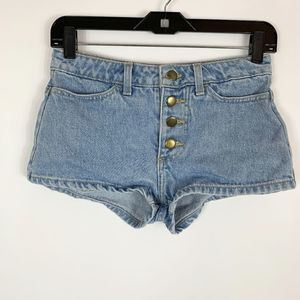 American Apparel Jean Shorts 25 Exposed Button Fly